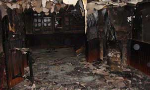 local afectado por las llamas