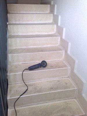 antes del pulido de escalera de terrazo
