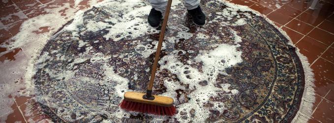 Limpiando alfombra de casa