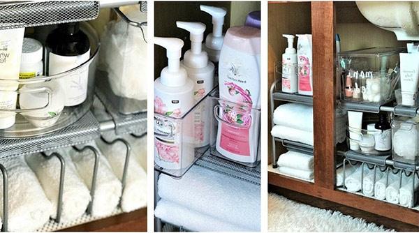 Organizar los productos del baño